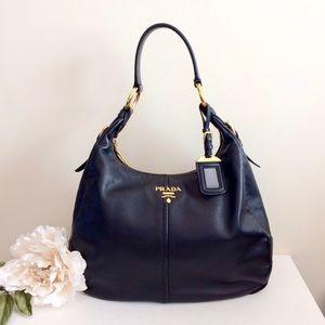 ❤️PRADA❤️Classic Black Leather Hobo GHW Gold Purse